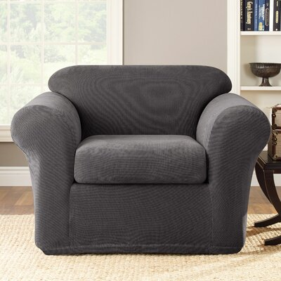 Stretch Metro 2-Piece Armchair Slipcover Upholstery: Gray