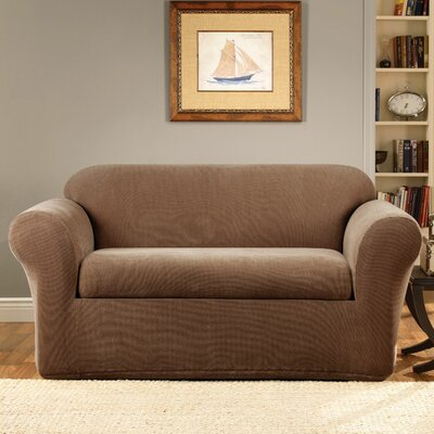 Stretch Metro 2-Piece Box Cushion Loveseat Slipcover Upholstery: Brown