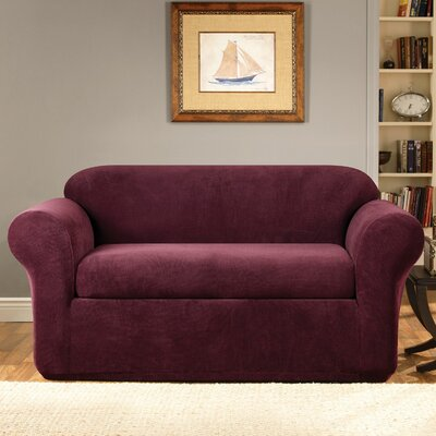 Stretch Metro Box Cushion Loveseat Slipcover Upholstery: Burgundy