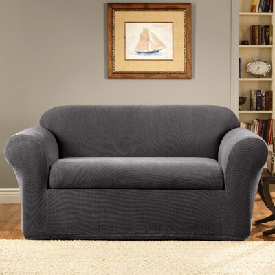 Stretch Metro Box Cushion Loveseat Slipcover Upholstery: Gray