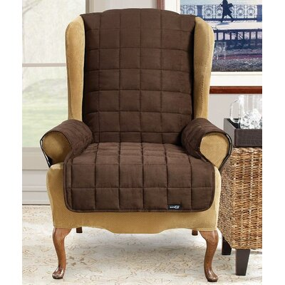 Waterproof Soft Suede Wingchair Slipcover Upholstery: Chocolate