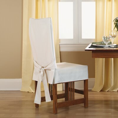 Cotton Duck Shorty Dining Chair Slipcover Upholstery: Natural