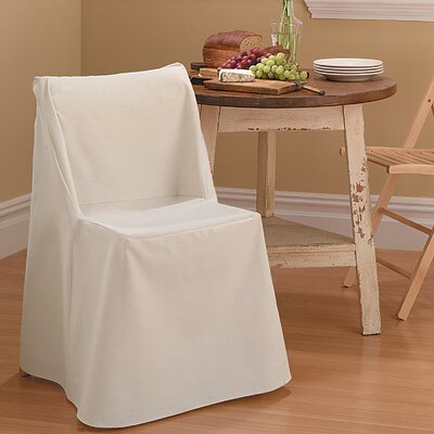 Cotton Duck Box Cushion Dining Chair Slipcover Upholstery: Natural