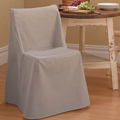 Cotton Duck Box Cushion Dining Chair Slipcover Upholstery: Linen