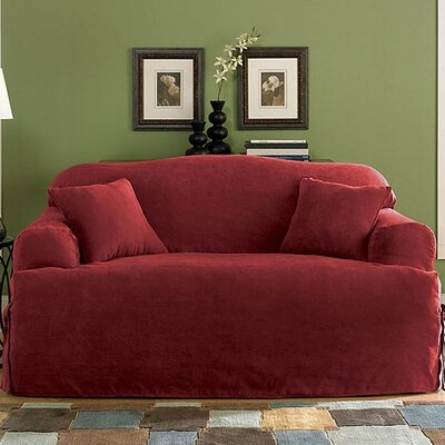 Soft Suede Loveseat T-Cushion Slipcover Upholstery: Burgundy