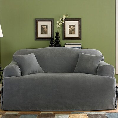 Soft Suede Loveseat T-Cushion Slipcover Upholstery: Smoke Blue