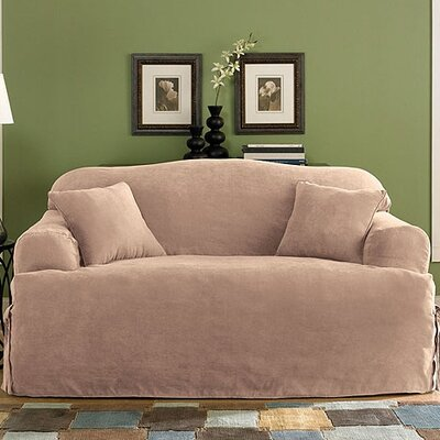 Soft Suede Loveseat T-Cushion Slipcover Upholstery: Sable