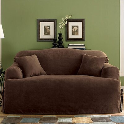 Soft Suede Loveseat T-Cushion Slipcover Upholstery: Chocolate