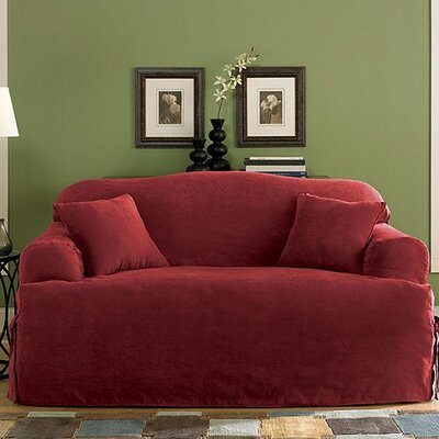 Soft Suede Sofa T-Cushion Slipcover Upholstery: Burgundy