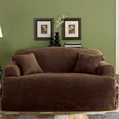 Soft Suede Sofa T-Cushion Slipcover Upholstery: Chocolate