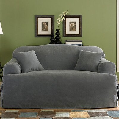 Soft Suede Sofa T-Cushion Slipcover Upholstery: Smoke Blue