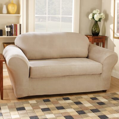 Stretch Suede Separate Seat Loveseat Slipcover Upholstery: Oatmeal
