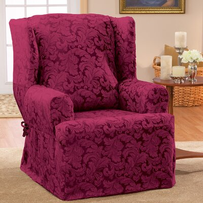 Scroll Classic Wing Chair T Cushion Skirted Slipcover Upholstery: Burgundy