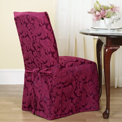 Scroll Classic Dining Chair Skirted Slipcover Upholstery: Burgundy