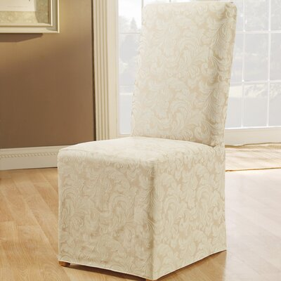 Scroll Classic Dining Chair Skirted Slipcover Upholstery: Champagne