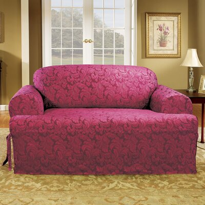 Scroll Classic T-Cushion Loveseat Slipcover Upholstery: Burgundy