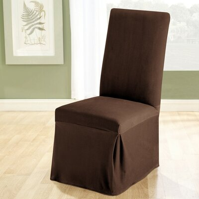 Stretch Pique Dining Chair Slipcover Upholstery: Chocolate