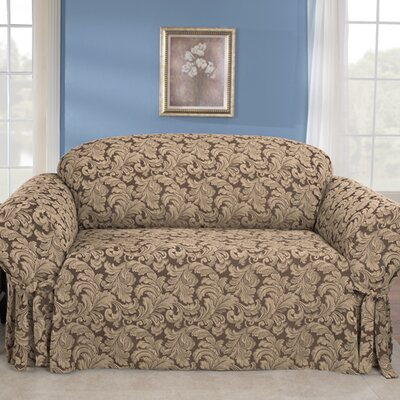 Scroll Classic Sofa Skirted Slipcover Upholstery: Brown