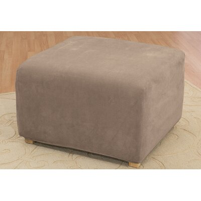 Stretch Pique Ottoman Slipcover Upholstery: Taupe