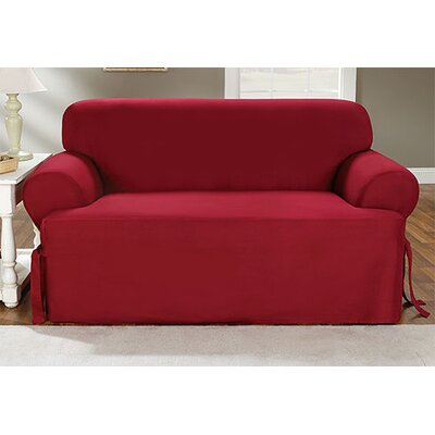 Cotton Duck Sofa T-Cushion Slipcover Upholstery: Claret