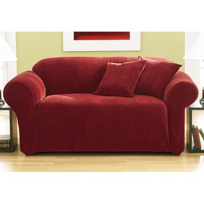 Stretch Pique Separate Seat Sofa Slipcover Upholstery: Claret