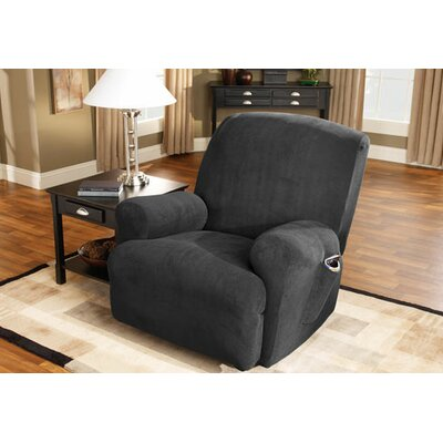 Stretch Pique T-Cushion Recliner Slipcover Upholstery: Black