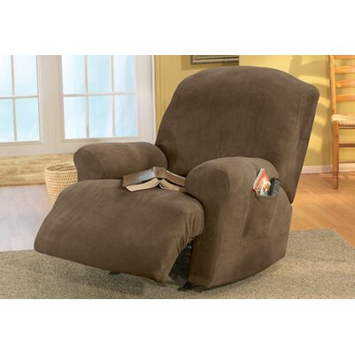 Stretch Pique T-Cushion Recliner Slipcover Upholstery: Taupe