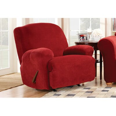 Stretch Pique Recliner T-Cushion Slipcover Upholstery: Garnet