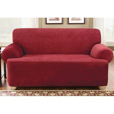 Stretch Pique Box Cushion Loveseat Slipcover Upholstery: Claret