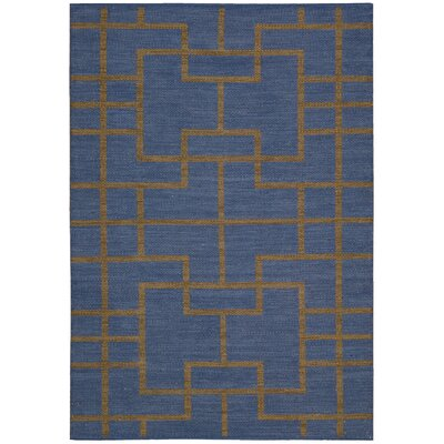 Maze Ocean Navy Area Rug Rug Size: Rectangle 36 x 56