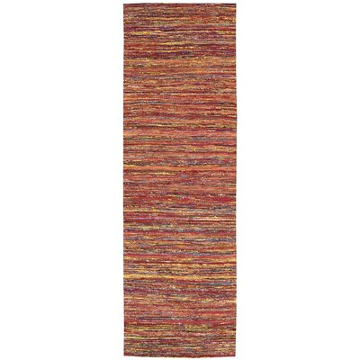 Zahra Hand-Woven Red Area Rug Rug Size: Runner 23 x 76