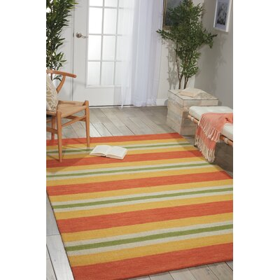 Oxford Handmade Orange/Yellow Area Rug Rug Size: Rectangle 53 x 75