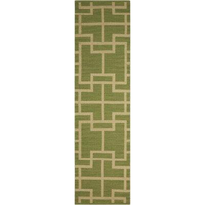 Maze Legra Hand-Woven Green Area Rug Rug Size: Runner 23 x 8