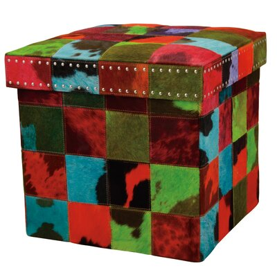 Barclay Butera Storage Ottoman Upholstery: Red/Green/Black