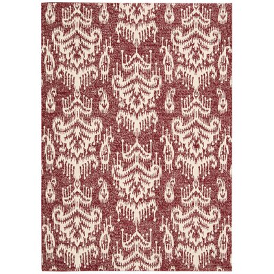 Kaleidoscope White/Crimson Area Rug Rug Size: Rectangle 79 x 1010