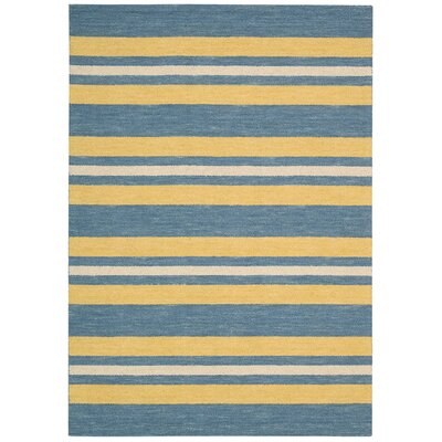 Oxford Handmade Blue/Yellow Area Rug Rug Size: 53 x 75