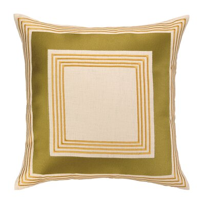 Brea Embroidered Linen Throw Pillow Color: Olive