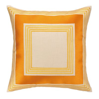 Brea Embroidered Linen Throw Pillow Color: Orange