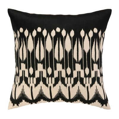 Lomita Embroidered Linen Throw Pillow Color: Black