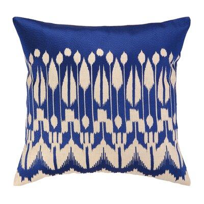 Lomita Embroidered Linen Throw Pillow Color: Indigo