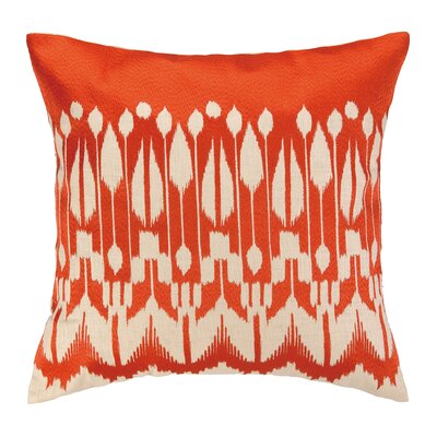 Lomita Embroidered Linen Throw Pillow Color: Marmalade