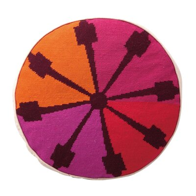 Indio Round Needlepoint Wool Throw Pillow Color: Pink