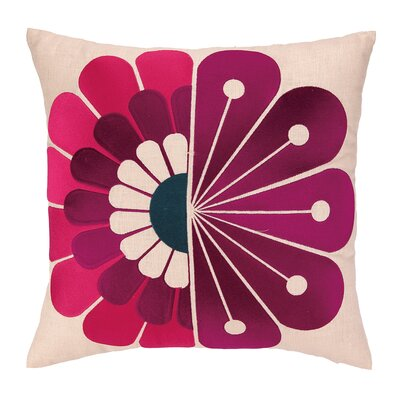 Windsor Embroidered Linen Throw Pillow Color: Berry