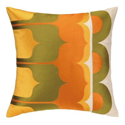 Delano Embroidered Linen Throw Pillow Color: Olive