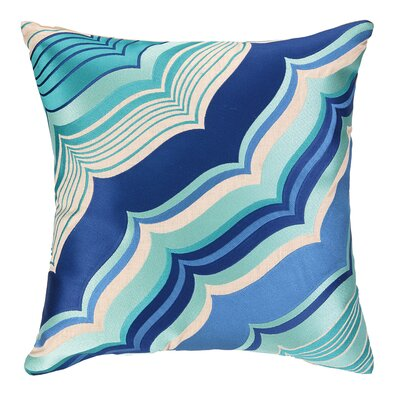 Malibu Embroidered Linen Throw Pillow Color: Blue