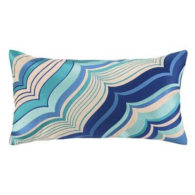 Malibu Oblong Embroidered Linen Lumbar Pillow Color: Blue