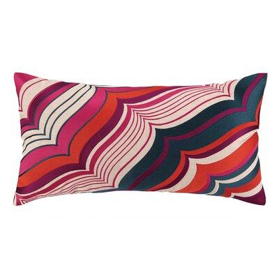Malibu Oblong Embroidered Linen Lumbar Pillow Color: Berry