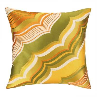 Malibu Embroidered Linen Throw Pillow Color: Olive