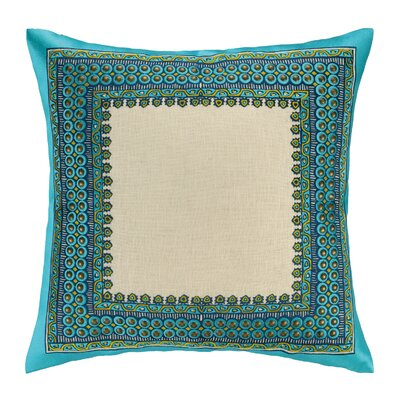Terranea Embroidered Linen Throw Pillow Color: Blue