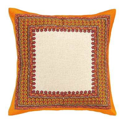 Terranea Embroidered Linen Throw Pillow Color: Orange